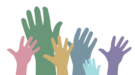 An illustration of multicolor hands reaching up.