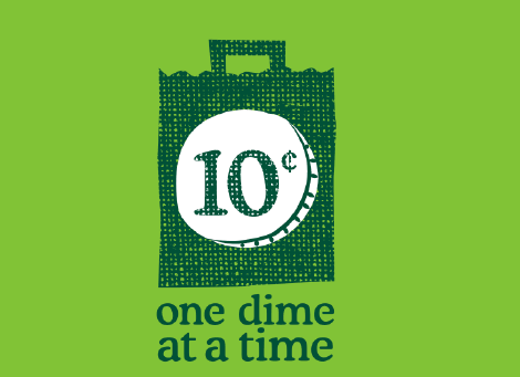 An illustration of a shopping bag with a dime emblazoned on the front. One Dime at a Time.