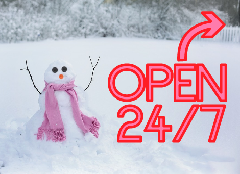A snowman wearing a pink scarf. Next to it are the words Open 24/7 in pink neon.